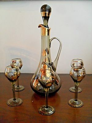 Vintage Venetian Glass  Wine Decanter and Five wine Glasses