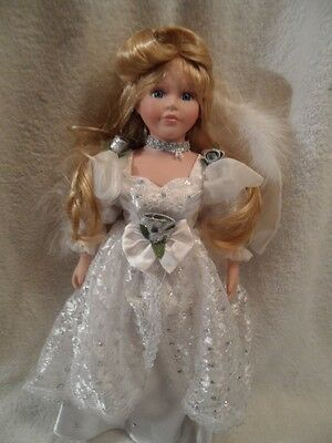 "porcelain 17"" Angel doll silversilk dress real feather wings VGC"