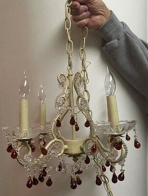 Antique Style 4-Light French Beaded Chandelier / Crystals With Amber Drops