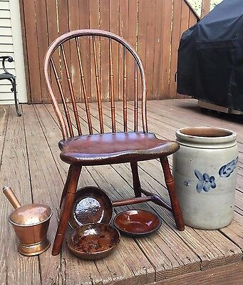 Child's Antique Pennsylvania 7 Spindle Bow-back Windsor Chair 1780-1800