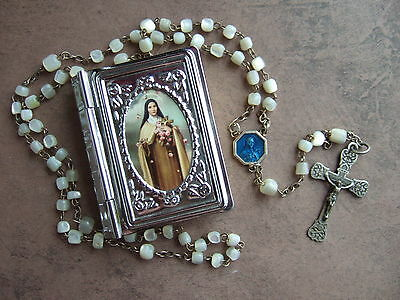 Vintage Catholic Rosary MOTHER of PEARL with metal St. Therese picture box