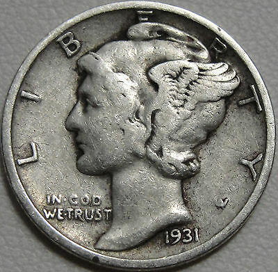 1931-S 10C Mercury Dime, Winged Liberty Head, 90% Silver, #8761