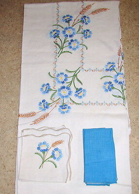 """Vintage Beige w/BLUE & BROWN Embroidery TABLECLOTH 68"""" x 84"""" + 6 Napkins"""