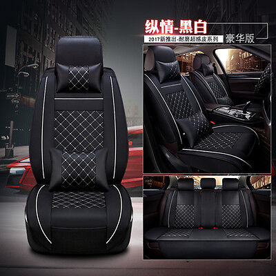 NEW Full Deluxe PU leather 5-Seats Car Seat Cover Front+Rear Cushion W/Pillow