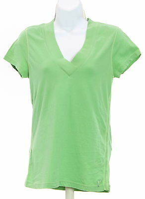 Women's AMERICAN EAGLE OUTFITTERS Green 100% Cotton Short Sleeve Basic T-Shirt