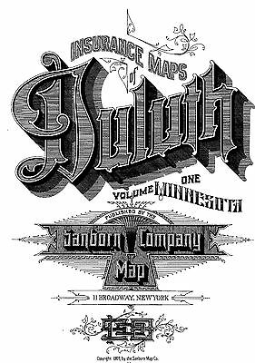 Duluth, Minnesota~Sanborn Map© sheets 2 Volumes~ 1908 to 1909 ~230 maps on a CD