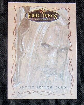 TOPPS LOTR Evolution Trading Cards SARUMAN sketch card by CAT STAGGS