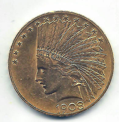 10 Dollars U.S.A. gold 1908 @ Indian @ Excellent @