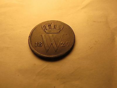 1827 Netherlands 1 Cent Coin William I - Free Shipping