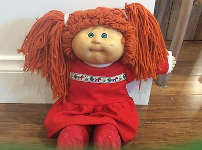 1986 Cabbage Patch Doll-Miss Hannah with Vintage Clothes,Green Eyes Orange Hair