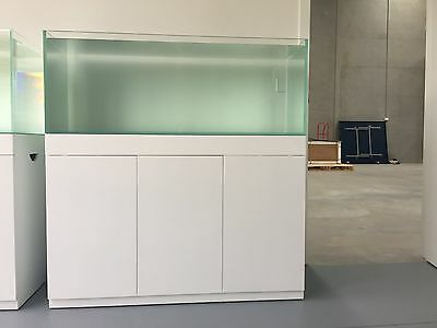 aquarium fish tank with glossy white cabinet