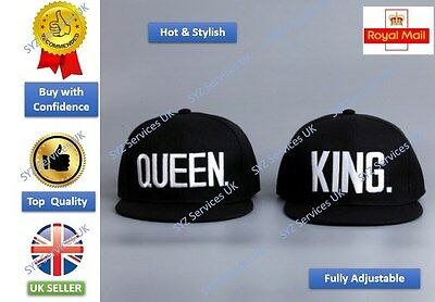 069ac9319ca UK SELLER KING QUEEN Snapback Pair Fashion Embroidered Caps Hip-Hop Hats NEW