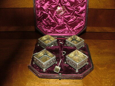 English Sterling Silver Boxed Set Victorian Novelty Salts