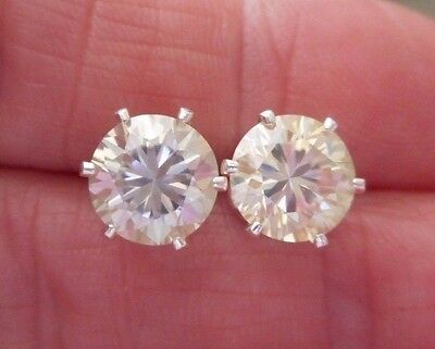 EARRING PAIR SILVER 2.80TCW 1.40 ct VVS1 7.60mm ICY SUNNY WHITE ROUND MOISSANITE