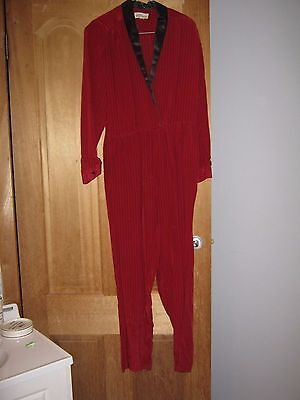 Vintage Jumpsuit 1960's/1970's Red and Black Stripe Size 10 Silk
