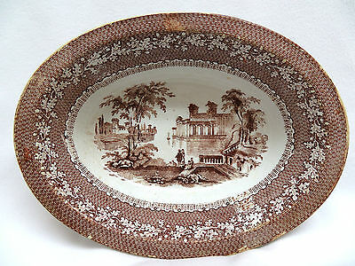 Antique 1883 Staffordshire England Oval Brown Transferware Vegetable Bowl