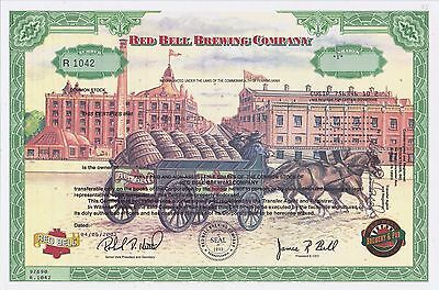 Red Bell Brewing Company Stock Certificate- Pictorial Beauty!