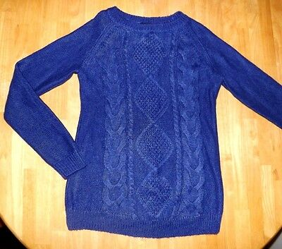 H&M Mama Maternity women's size Medium Blue Cable Knit Sweater MZ10