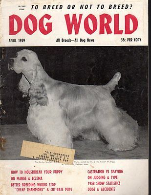 Dog World Magazine April 1959, Cocker Spaniel Cover, Airedale Terrier