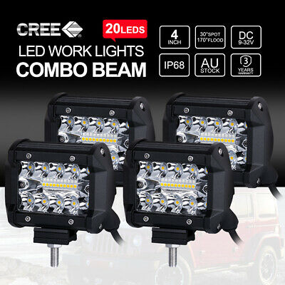 4PCS 4 inch 100W CREE LED Work Light Bar SPOT FLOOD Off Road 4x4 Fog Lamp 12/24V