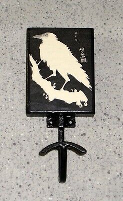 NEW~Crow / Raven Theme Black Wall Hook Wrought Iron & Wood HandCrafted Halloween