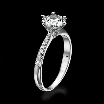 1.35 CT G-H/SI1 Solitaire Enhanced Round Diamond Engagement Ring 14K White Gold