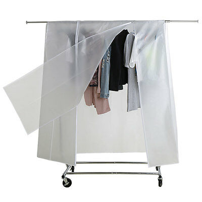 6ft Garment Clothing Coat Rack Cover Single Rail with Strong Double Zip Pocket
