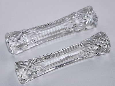 Pair of Vintage/Antique Cut Glass Knife Rests - Cross and Vertical Cuts