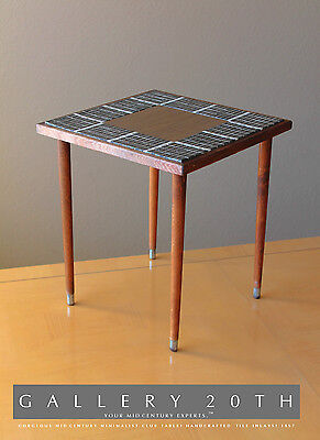 MINIMALIST MID CENTURY MODERN TILE CLUB TABLE! Atomic Raymor Wood 50's Eames Vtg