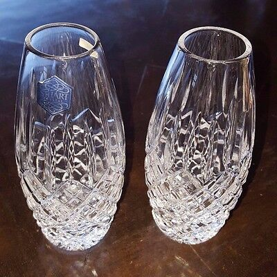 Pair of STUART CRYSTAL vases in BLENHEIM pattern - Diamond & Vertical Cuts
