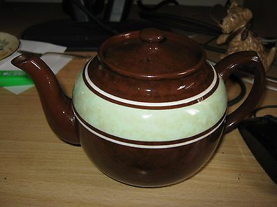 Vintage Teapot - Sadler 'brown Betty'  Brown With Green & White Bands