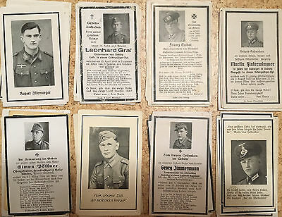 100x German WW2 death cards - Convolute Infantry, Mountaintrooper, Pioneers