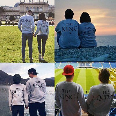 AU Couple Matching King and Queen Printed Jumper Pullover Sweatshirt Crowns Top