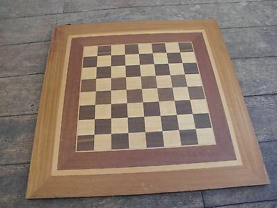 "Vintage Inlaid Hardwood Wooden Large 20"" Chess Board 1.5"" squares"