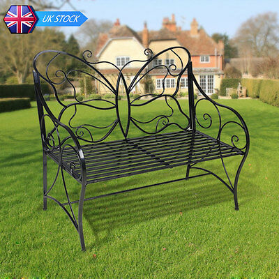 Outdoor Black Metal Antique Garden Bench Double Seat with Decorative Butterfly P