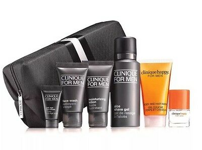 Clinique For Men - Grooming/Skin Care Set with Wash Bag - 7 Items BN
