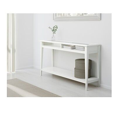 Ikea Liatorp White Wooden Console Display Table Glass Top.