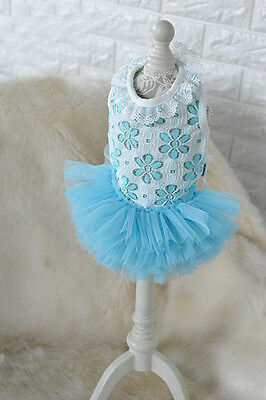 TONY.HOBY@L Blue Flounc Lace Pet Dog Tutu Dress Puppy Vest Cat Clothes Skirt