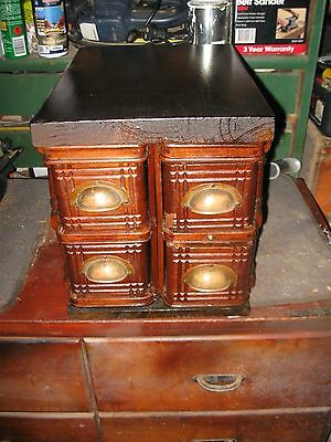 ANTIQUE SINGER DRAWERS  4 set as TRINKET CHEST>