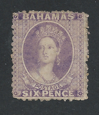 BAHAMAS 1863-77 6d LILAC PERF 12½ WMK REVERSED UNUSED SG 30x NOT PRICED