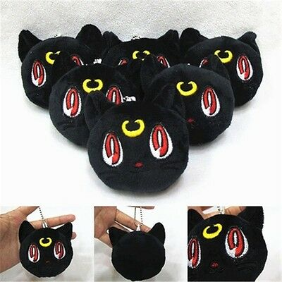 "3"" Sailor Moon Luna Black Cat Anime Plush Toy Pendant Stuffed Doll Plüsch Puppe"