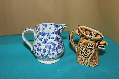 Antique miniture jugs x2 cockeral/ blue and white