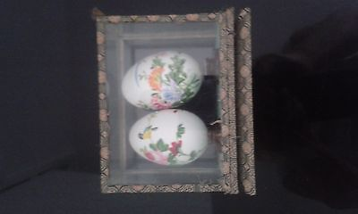 Chinese Decorative Eggs on Stands in Original Box Hand Painted China