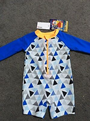 BNWT Baby Boys Long Sleeve White And Blue Full Zip Up Rash Swim Suit Size 0