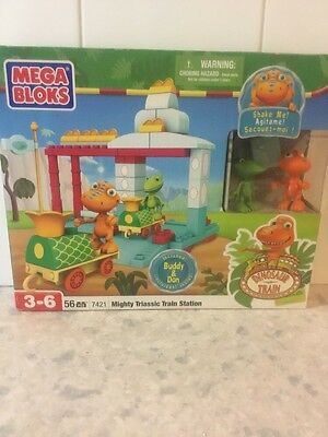 MEGA BLOKS Mighty Triassic Train Station 52pcs 7421 New In Box