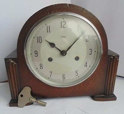 Smiths Enfield Chiming, Wood Cased  Mantel Clock + Key