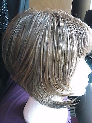 Classic Bob Wig, Heat resistant, Synthetic hair, Medium Brown with highlights