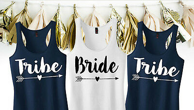 Personalised Hen Party Vests, White & Navy Hen Night S-Xl, Bride Tribe, Wedding
