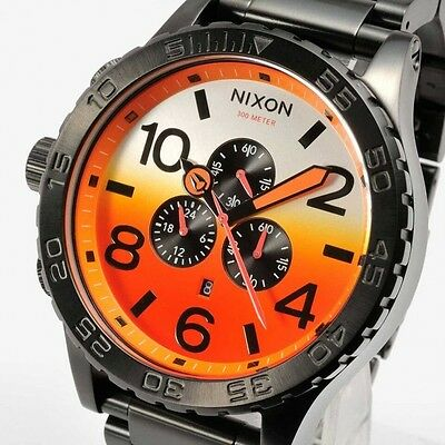 Nixon 51-30 Chrono Stainless Steel Men's Watch A083-580 All Black/sunrise Dial