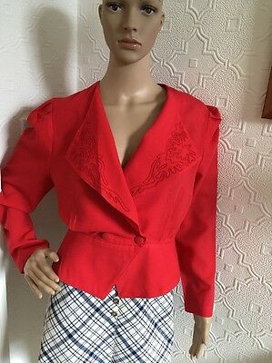 Jacques Vert Pure New Wool Vintage 1980's Red Jacket Size 10
